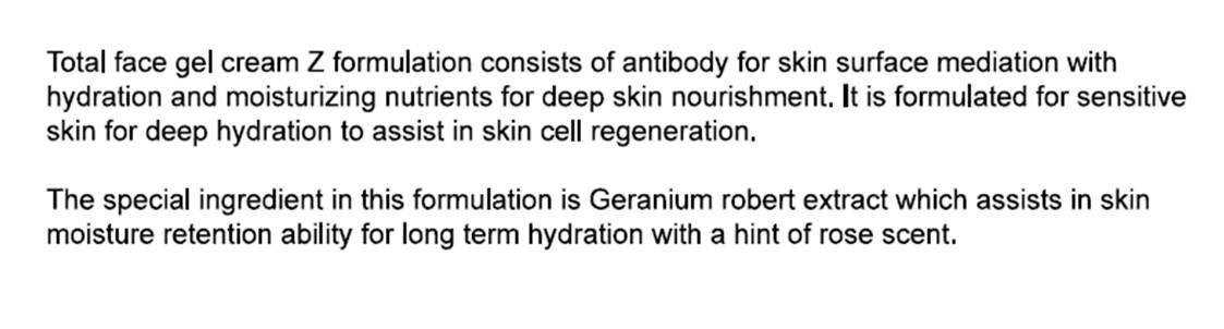 Gel Cream Formulation
