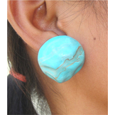 Abstract Blue & Gold Fashion Earrings